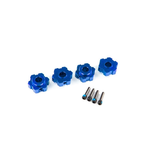 AX8956X WHEEL HUBS, HEX, ALUMINUM (BLUE-ANODIZED) (4)/ 4X13MM SCREW PINS (4)